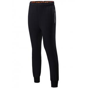 Lace-Up Sports Pants with Zip - Black - L