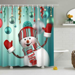 Christmas Snowman Polyester Waterproof Shower Curtain