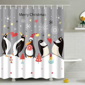 Waterproof Penguin Printed Bath Christmas Shower Curtain