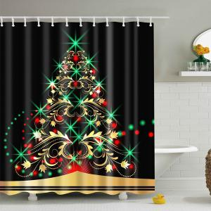 Waterproof Xmas Tree Bath Christmas Shower Curtain