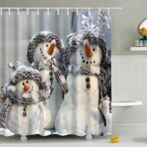 Snowman Printed Fabric Waterproof Shower Curtain - Gray - L