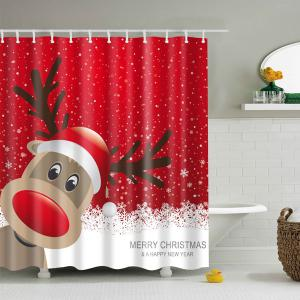 Waterproof Christmas Elk Bathroom Cartoon Curtain