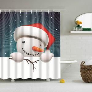 Snowman Print Merry Christmas Cartoon Shower Curtain