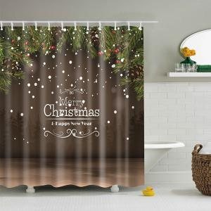New Year Christmas Bathroom Decor Shower Curtain