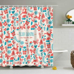 Christmas Supplies Print Waterproof Polyester Bath Curtain