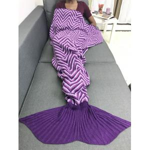 Geometry Stripe Ombre Knitted Sofa Mermaid Blanket - PURPLE