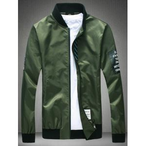 Stand Collar Graphic Zip Up Jacket - Army Green - L