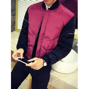 Zippered Contrast Color Snap Front Padded Jacket
