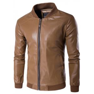 Rib Insert PU Leather Zip Up Jacket - Sandy Beige - Xl