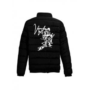 Elastic Cuff Zip Up Noctilucent Graphic Padded Jacket - BLACK 2XL