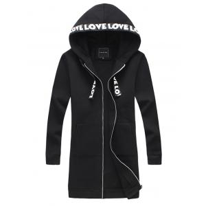 Pocket Zip Up Longline Love Hooded Coat