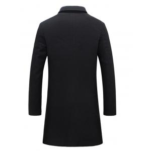 Notch Lapel Single Breasted Plain Wool Blend Coat -