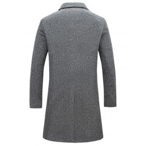Pocket Heathered Wool Blend Two Button Coat - GRAY 5XL
