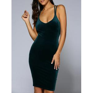 Criss-Cross Velvet Bodycon Slip Dress - Blackish Green - Xl