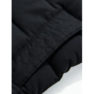 Slim Fit Zip Up Padded Hooded Quilted Coat - BLACK 3XL
