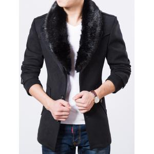 Fur Embellished Lapel Collar Wool Blend Coat