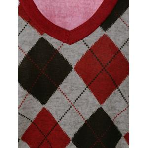 V Neck Argyle Knitwear -