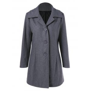 Button Up Vertical Pockets Woolen Coat - Gray - M