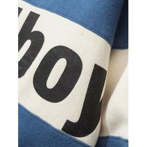 Crew Neck Graphic Printed Striped Pullover Sweatshirt - BLUE XL