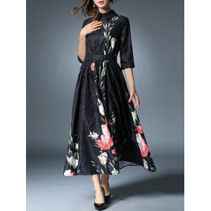 Long Jacquard Floral Print Maxi Dress