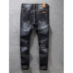 Zip Fly Dark Tapered Denim Jeans -