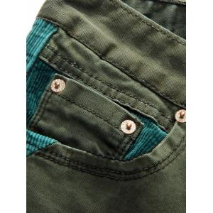 Straight Leg Color Block Corduroy Insert Jeans - DEEP GREEN 32