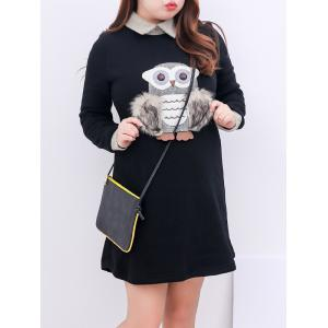 Plus Size Fleece Collared Long Sleeve Dress - Black - 3xl