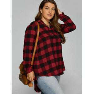 Plus Size Checked High Low Blouse - CHECKED 5XL