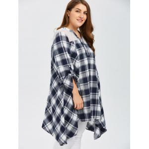 Plus Size Asymmetrical Plaid Smock Blouse -