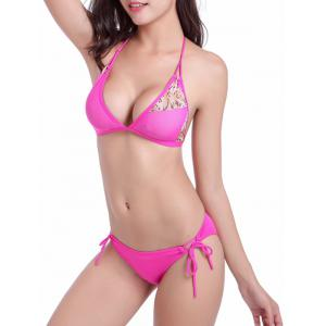 Leopard Print Panel String Moulded Bikini Set -