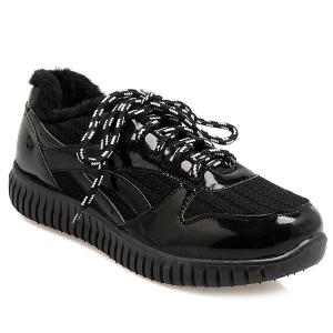Splicing Patent Leather Tie Up Athletic Shoes