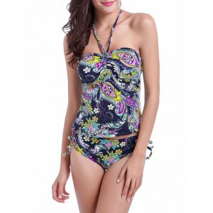 Halter Tribal Paisley Print Bandeau Two Piece Swimsuit - Purplish Blue - L
