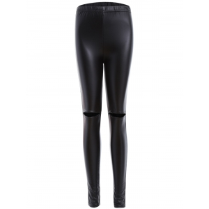 Ripped PU Leather Leggings - Black - Xl