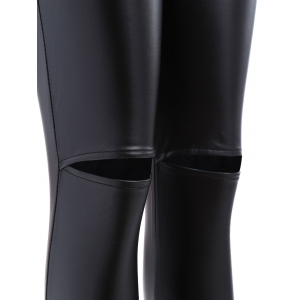 Ripped PU Leather Leggings - BLACK XL