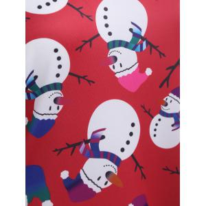 Snowman Patterned Christmas A Line Skater Dress - RED XL
