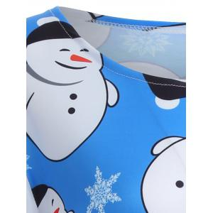 Snowman Graphic Long Sleeve Christmas Dress - AZURE XL