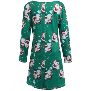 Santa Snowman Print Long Sleeve Christmas Dress - GREEN XL