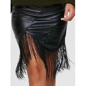 PU Leather Asymmetric Fringe Skirt