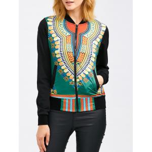 Zip Up Tribal Print Baseball Jacket