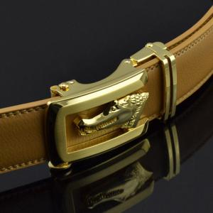 Crocodile Embossed Automatic Buckle PU Leather Wide Belt -