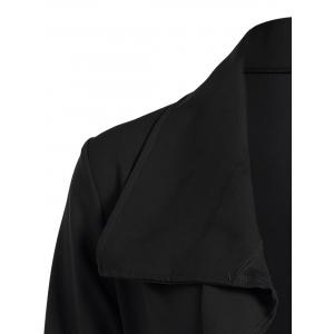 Bowknot Lapel Wrap Coat and Belt - BLACK L
