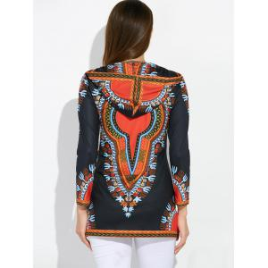 Zipper Fly African Totem Hooded Coat - BLACK XL