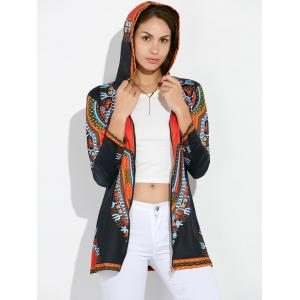 Zipper Fly African Totem Hooded Coat
