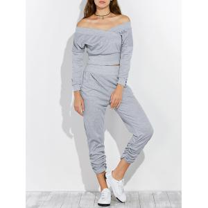 Open Back Off The Shoulder Tee and Pants Jogging Suit