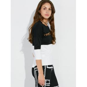 Letter Print Drop Shoulder Two Tone Tee -