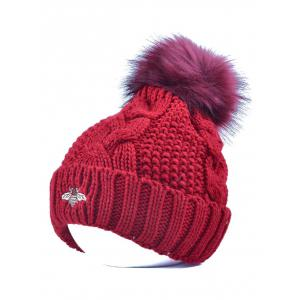 Winter Pom Ball Flanging Bee Knitted Beanie - Wine Red