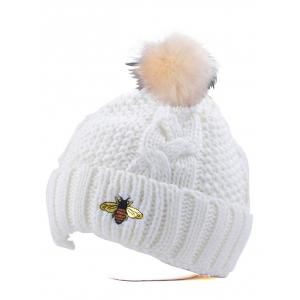 Winter Pom Ball Flanging Bee Knitted Beanie - White