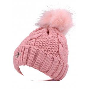 Winter Pom Ball Flanging Bee Knitted Beanie - Pink