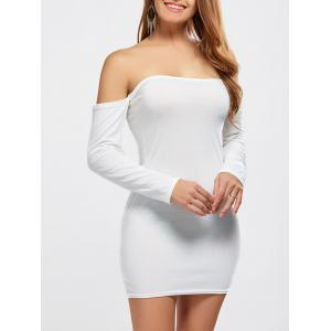 Off Shoulder Long Sleeve Fitted Mini Dress - White - S