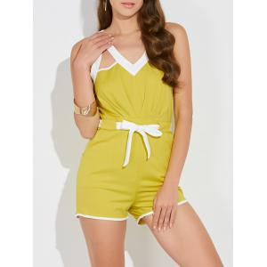 Hollow Out Drawstring Sleeveless Romper